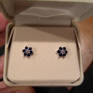 Sapphire diamond earrings, 14kt white gold
